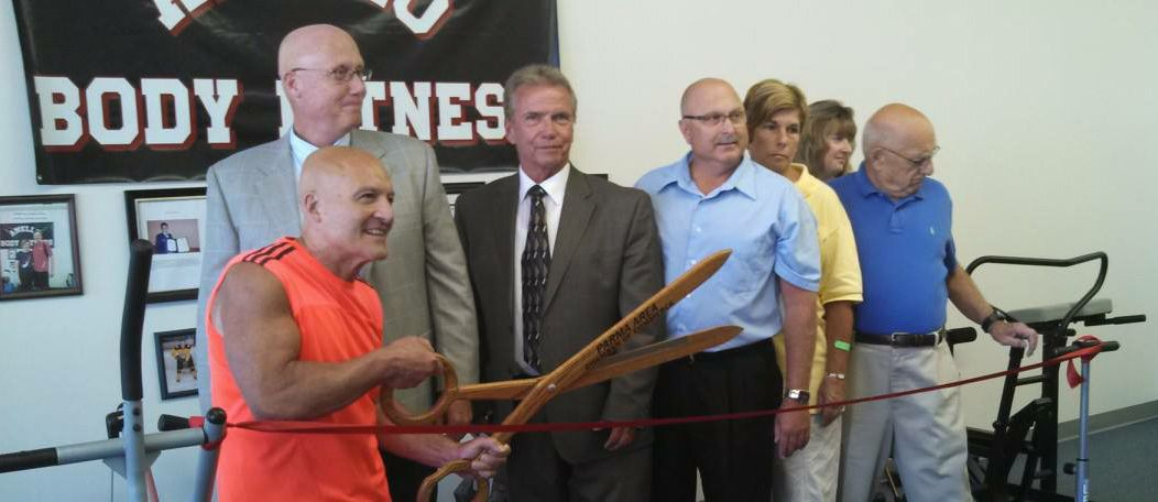 Powerlifting Legend Vince Anello with Parma Heights Mayor Mike Byrne at the ribbon-cutting ceremony for Anello Body Fitness.